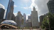 Stock Video Footage of Cloud Gate Wide Pan with Downtown Chicago Skyline