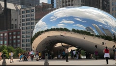 Chicago's Cloud Gate Sculpture Tight Pan - stock footage