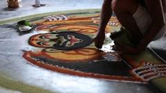 Kalamezhuth-floor decoration Stock Footage