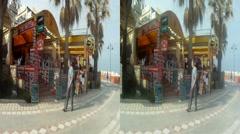 Beach front restaurant Benal Spain 3D HD.mp4 Stock Footage