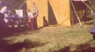 Stock Video Footage of 50s Car Camping Family Tent Set-Up (Vintage Film 8mm Home Movie) 41