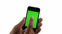 Smartphone on white background with green screen Stock Footage