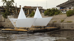 Large Scale Paper Boat Models Stock Footage