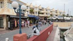 Benal Marina tourists fast timelapse P HD 9679 Stock Footage