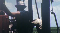 Men Work on Oil Platform Well Derrick GAS Industry Vintage Film Home Movie 5 Stock Footage