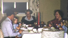 AMERICAN Family Dinner EATING Meal Together 1940s Vintage Film 8mm Home Movie 9 Stock Footage