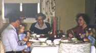 Stock Video Footage of Family Dinner EATING Meal Together 1940s Vintage Film 8mm Home Movie 9