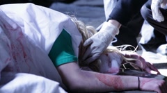 Dead Body at a crime scene 2 Stock Footage