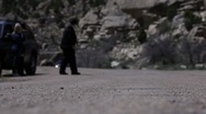 FBI Agent Stops a truck in the road Stock Footage