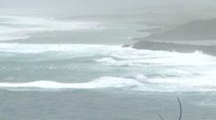 Sea Storm Waves Crash Ashore Ahead of Hurricane Stock Footage