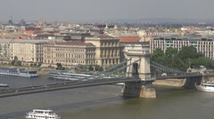 The Széchenyi Chain Bridge and the Budapest City, Budapest, Hungary Stock Footage