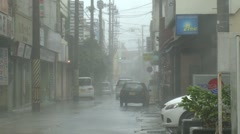 Hurricane Winds And Rain Roar Through Streets Stock Footage