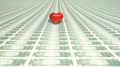 Heart with many one dollar bills Stock Footage
