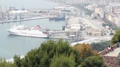 Malaga Spain Marina Port Gibralfaro Castle P HD 8362 Stock Footage