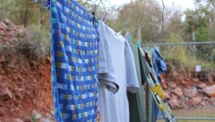Laundry Drying on Line (HD) Stock Footage