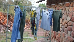 Laundry Drying on Line in Africa (HD) Stock Footage