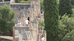 Malaga Spain Gibralfaro Castle steps P HD 8359 Stock Footage
