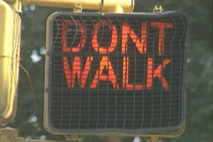 A Don't Walk sign changes to Walk Stock Footage