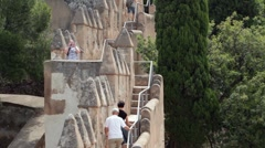 Malaga Gibralfaro Castle steps P HD 8358 Stock Footage