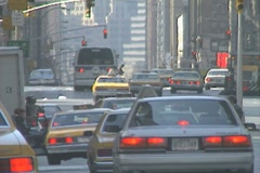 Traffic on a busy street in Manhattan Stock Footage