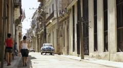 Street view of Havana (Old Havana), Cuba Stock Footage