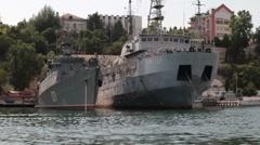 Naval ships in the harbor of Sevastopol Stock Footage
