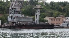 Floating crane in the bay of Sevastopol Stock Footage