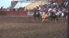 Rodeo steer wrestling 1 - stock footage