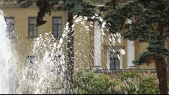 Tilt shot of the fountain stream Stock Footage