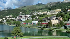 View over St.Moritz, Engadin, Switzerland - stock footage
