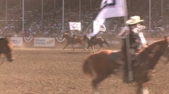 Rodeo sponsor flag ride Stock Footage