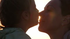 Silhouettes of mother and her daughter heads Stock Footage