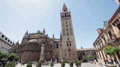 Sevilla Cathedral Square P HD 9799 Stock Footage