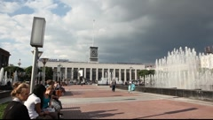 Pan shot of the fountain on the Lenin square Stock Footage