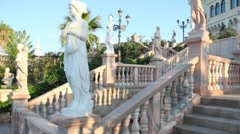 Instep motion on stone stairs in park of Castello Flotta near the Ionian coast Stock Footage