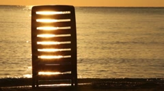 Deckchair stand in water Stock Footage