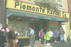 Italian food shop in Little Italy Manhattan Stock Footage