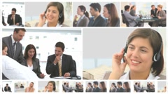 Montage of communicating business people - stock footage