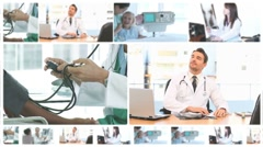 Montage of doctors with their patients Stock Footage