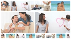 Montage of happy couples in several situations Stock Footage