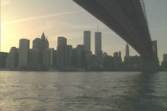Manhattan Skyline with the Twin Towers as the sun starts to set - stock footage
