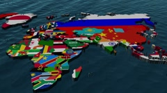 3D Flag World with Zoom to Middle East Stock Footage