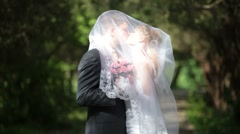 groom kissing bride under veil on  park alley - stock footage