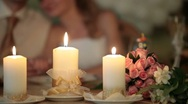 Burning candles at the wedding table Stock Footage