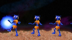 Funny aliens dancing on a planet with blue star - stop motion animation Stock Footage