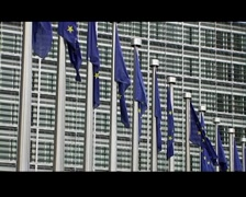 european commision flags - stock footage