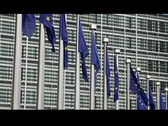 Stock Video Footage of european commision flags