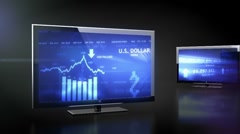 LCD TV with bussines data projection - stock footage