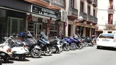 Sevilla Spain motorcycle park P HD 9775 Stock Footage