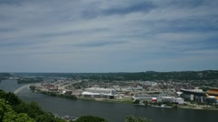 Ohio River seen from downtown Pittsburgh Mt. Washington. Stock Footage